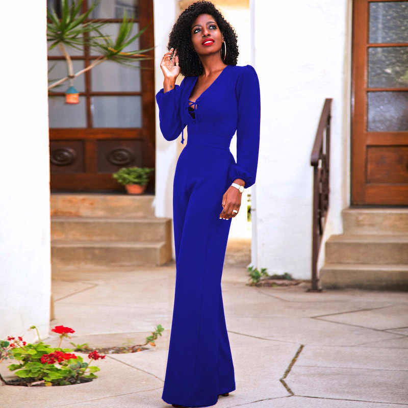 Blue black red long sleeve women office   jumpsuit   wide leg loose sexy v-neck elegant tunic fashion palazzo pants female playsuits
