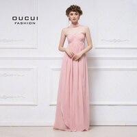 Oucui без бретелек Милая плиссированная А силуэт шифоновое платье плюс размер для женщин длинные Элегантные платья невесты Свадебная вечерин