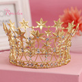 Gold Plated Five Stars Women Crown Original Handmade Luxury Drilling Alloy Bridal Wedding Accessoies Europe Fine Jewelry RE294