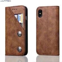"""JUNTSAI Luxo Estojo De Couro Genuíno para iPhone 8 5.8 """"polegadas Tampa Magnética Carteira Saco Do Telefone Móvel Caso de Telefone Celular Acessórios"""