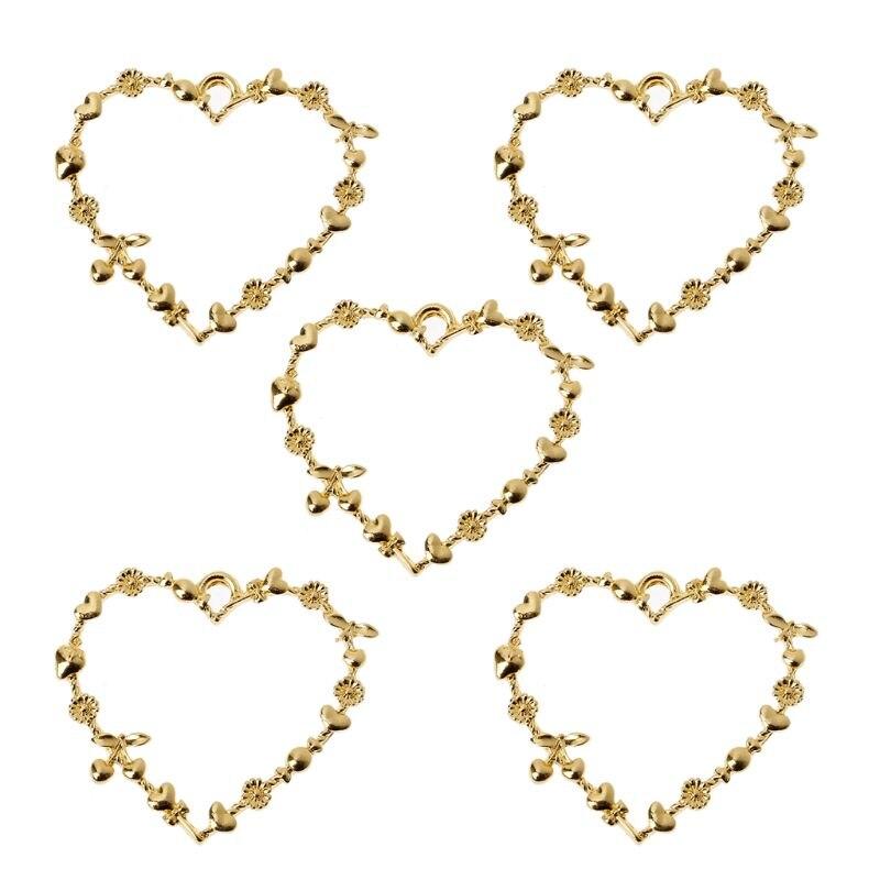 5Pcs Sweet Heart Blank Resin Frames Pendant Open Bezel Setting Jewelry Making