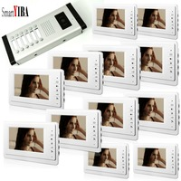 SmartYIBA квартира 7 домофон станции с двери выпуска дверной звонок Камера дверь домофон Системы 1 Камера 12 мониторы