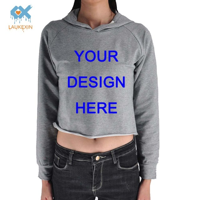 0f7ce80eb LAUKEXIN Womens Custom Fashion Cropped Hoodies Gray Raglan Long Sleeve Crop  Top Pullover Sweatshirt Personalized Text