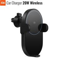 Original Xiaomi Mijia Wireless Car Charger 20W Max Electric Auto Pinch 2.5D Glass Ring Lit For Mi 9 (20W) MIX 2S / 3 (10W) Qi