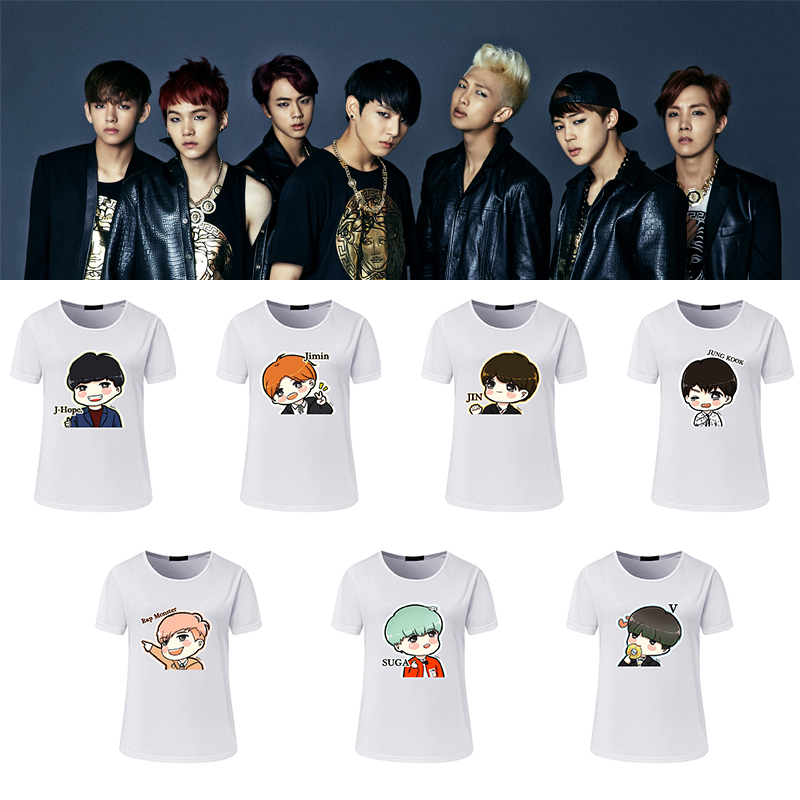 new t shirt girls t shirt women summer bts cartoon lovely printed casual bts cute t shirts in t. Black Bedroom Furniture Sets. Home Design Ideas