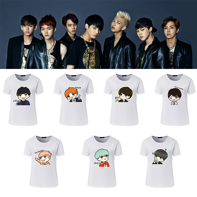 7126c5d75 Nueva camiseta para chicas camiseta para mujeres verano BTS dibujos  animados encantador impreso Casual BTS lindas