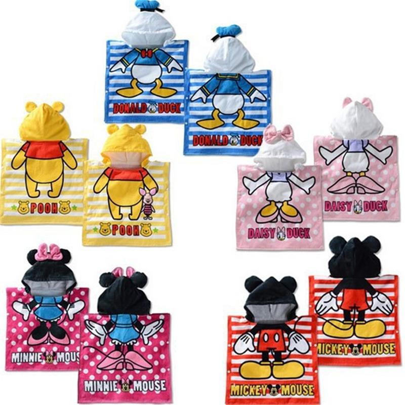 Disney 100% Cotton Cartoon Minnie Mickey Children's Hooded Towel Cloak Absorbent Bathrobe Children's Bath Towel Cloak 120x60cm