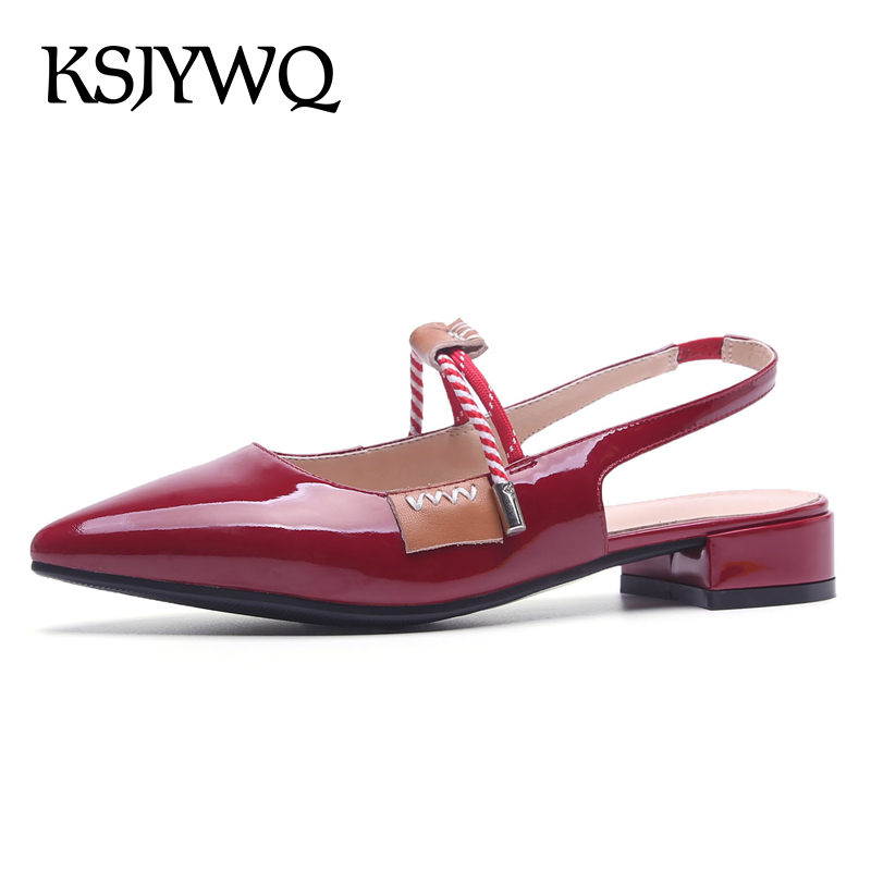 KSJYWQ Genuine Leather Women Low Pumps 3 CM Heels Pointed-toe Red Sandals Woman Slingbacks Summer Dress Shoes Box Packing 2066 ksjywq genuine leather flowers women sandals sexy exposed toe white shoes summer style clip toe shoes woman box packing a2571