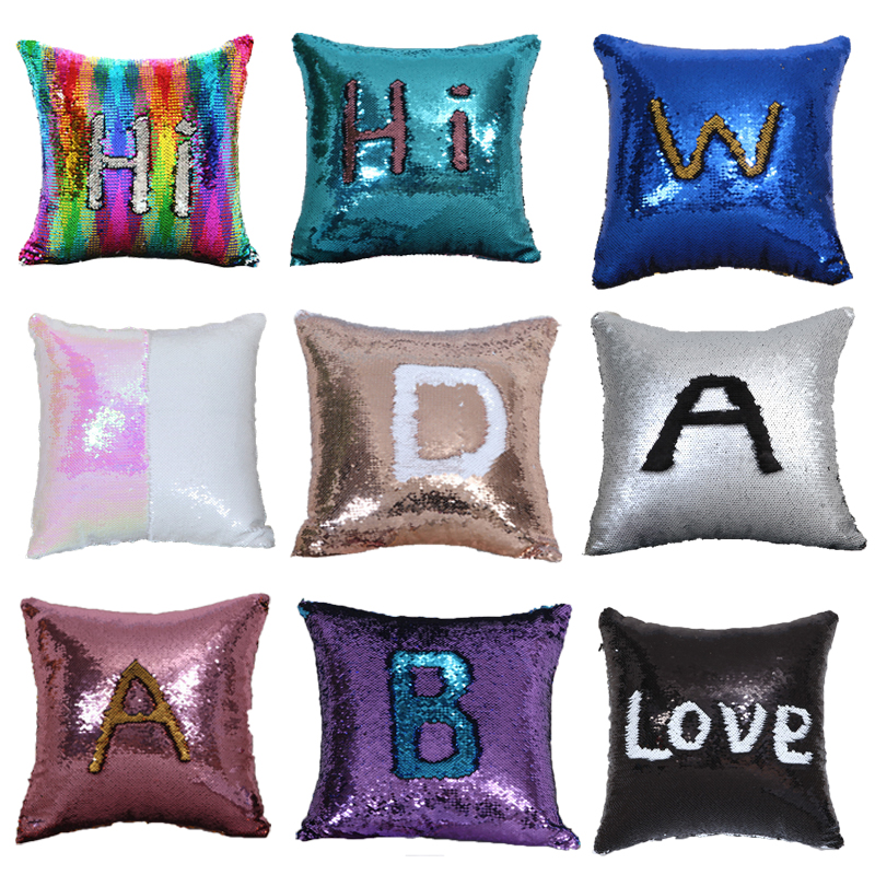 Magic Pillowcase Sequins Throw Pillow Mermaid 40*40cm Cushion Cover Decorative Reversible Sequin Pillowcover for Sofa Decorative(China)
