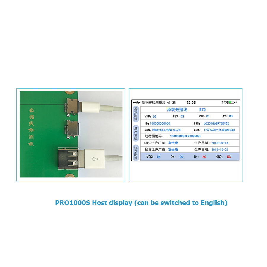JC PRO1000S Data Cable Tester Charge Cable Test Whether Original For iPhone  iPad Date Line Check