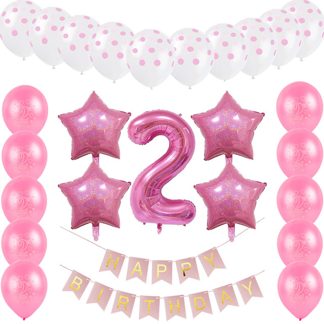26pcs Set Happy Birthday Letters Paperboard Banners Digital 2 Foil Balloon For Kids 2nd Party Decoration Latex Balloons