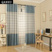 QANHU Blue and white/White brown Curtain Thick Linen Curtains for Living Room Window Curtains for Bedroom Modern Curtains