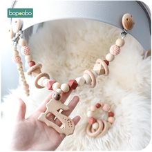 Bopoobo Baby Silicone Teethers Wooden Rings Bracelet Pacifier Chain Holders Teething Toy Pram Cart Chain Wooden Teether Baby Toy
