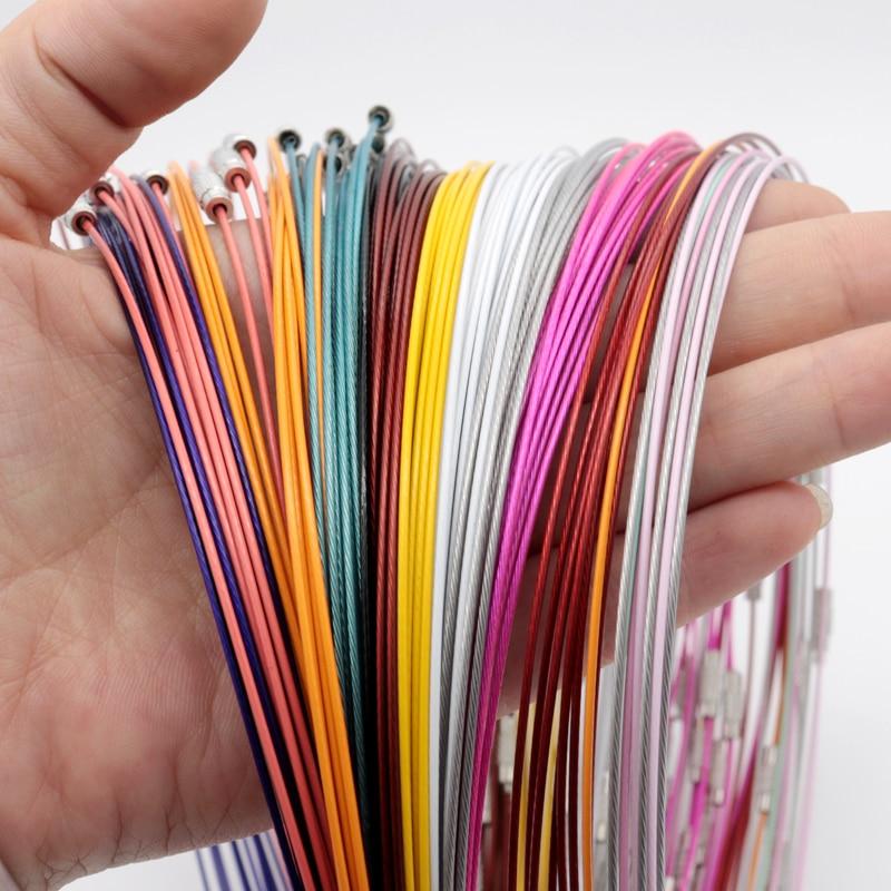 Оптовая продажа, 10 шт./лот, 1 мм, стальной провод, шнур, веревка, цепь, ожерелье, ювелирных изделий, сделай сам, шнуры, 18 дюймов, разные цвета