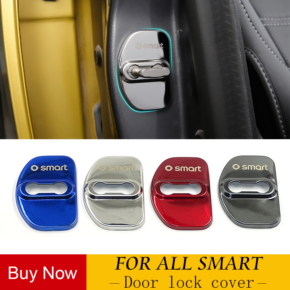 2pcs car accessories stainless steel door lock cover decorative anti-rust protective cover for Benz smart Fortwo Forfour 453 451