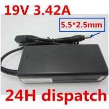 лучшая цена HSW 19V 3.42A 5.5X2.5mm Laptop Charger AC Adapter Power Supply FOR Toshiba c655 C660 L300 L450 L500 1000 PA3714U-1ACA A200 A205