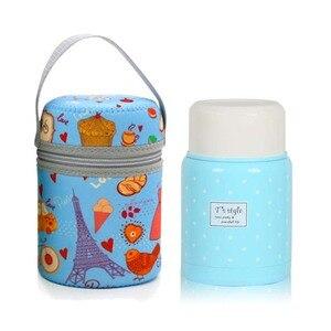 Image 3 - 350ml thermos inox cuillère pliante thermique boîte à déjeuner enfants termos coloré pot à soupe portable sac récipient alimentaire