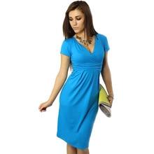 2016 New Fashion  V-neck  Elegant Women Dress  Short Sleeve Knee-length Cotton Casual Bodycon Dresses DR005