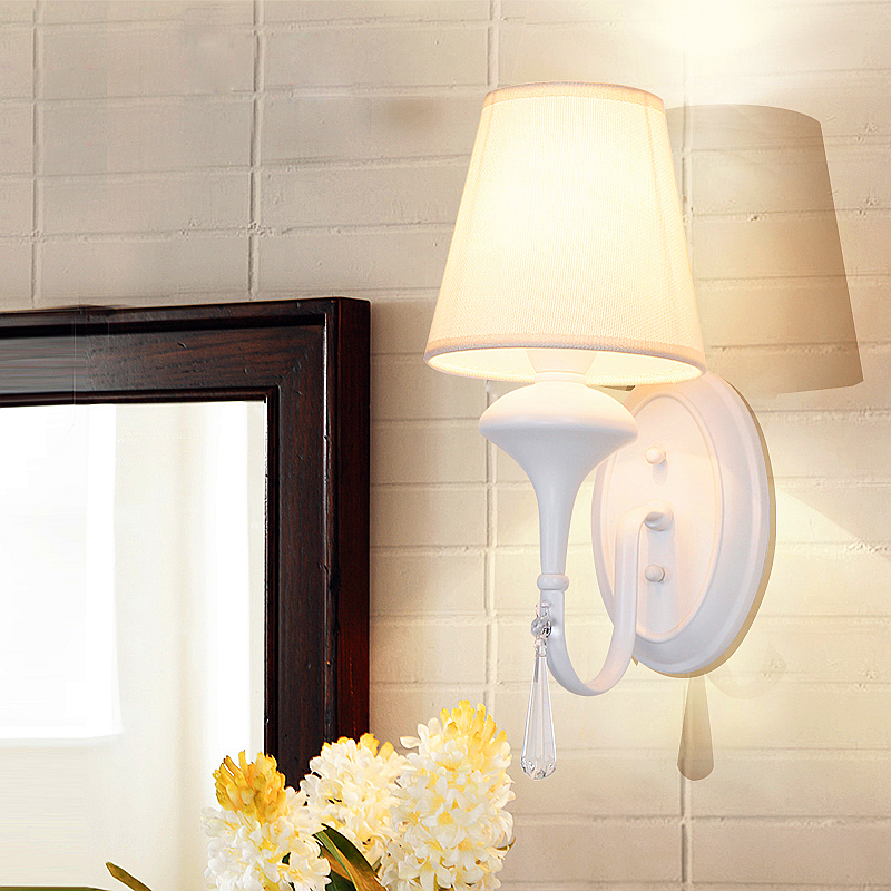 Modern Style Bedside Wall Lamp Bedroom Stair Lamp Cloth Wall Lights E14 LED Wall Lights white black Led Lamp For Bedroom Decor modern style bedside wall lamp bedroom stair lighting crystal wall lights e27 led bulb silver gold led lamp for bedroom decor