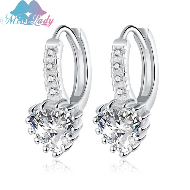 Miss Lady Heart Shaped Cubic Zirconia Earrings Silver Color Fashion Jewelry Wedding Gift For Woman