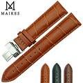 Maikes venta caliente del cuero genuino del becerro correa de reloj band 16 mm 18 mm 20 mm 22 mm 24 mm patrón de mariposa de cierre desplegable hebilla