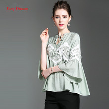 Fairy Dreams Womens Shirt White Green Loose Blusas Lace Patchwork 2017 Summer Flare Sleeve Fashion Blouses Ladies Casual Clothes