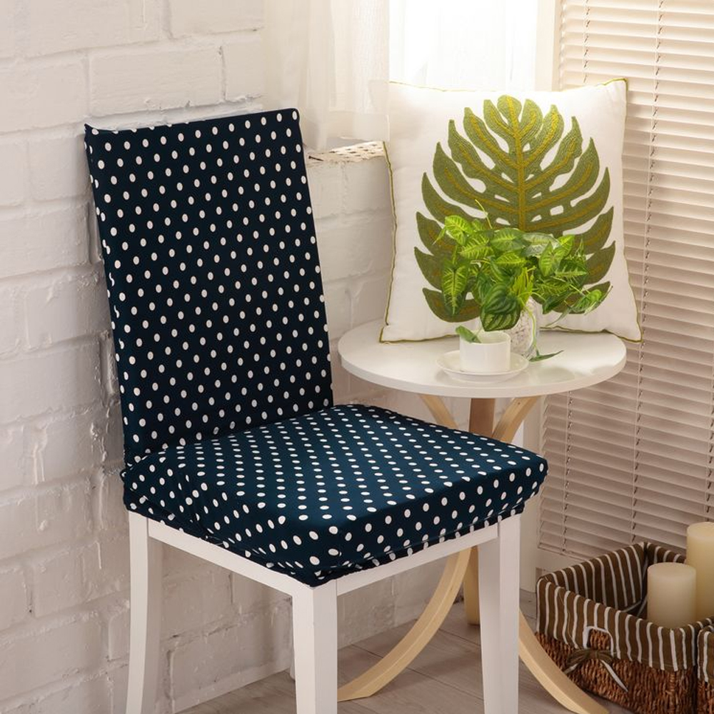 Yazi 6PCS Super Fit Stretch Dining Room Chair Cover Slipcover Dustproof Seat Protector Navy Blue Dots