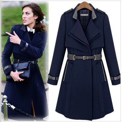 c41e38fd78 Free Shipping 2015 New Fashion Autumn Winter Women's Woolen Trench Coat Long-Sleeve  Plus Size Belt Outerwear Camel,Navy Blue