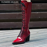 Fashion Wine Red Black Shiny Patent Leather Winter Boots Women Knee High Pointed Toe High Spike Heel Rome Botas Cross Tied Shoes