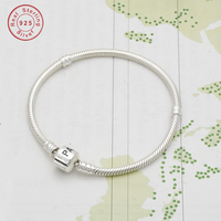 100% 925 Sterling Silver snake chain BRACELET Charms bead for women Bracelet DIY bracelet snake chain fashion jewelry