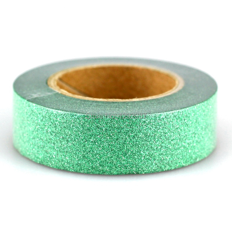 1PCS 15mm*10m Cute Green Glitter Tape Decorative Washi Tape Paper DIY Scrapbooking Adhesive Tapes For Photo Album Stationery