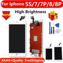 Black/White Assembly LCD Display Digitizer for iPhone 7  AAAA Quality LCD Touch Screen for iPhone 7 plus 8 8P 5S No Dead Pixel