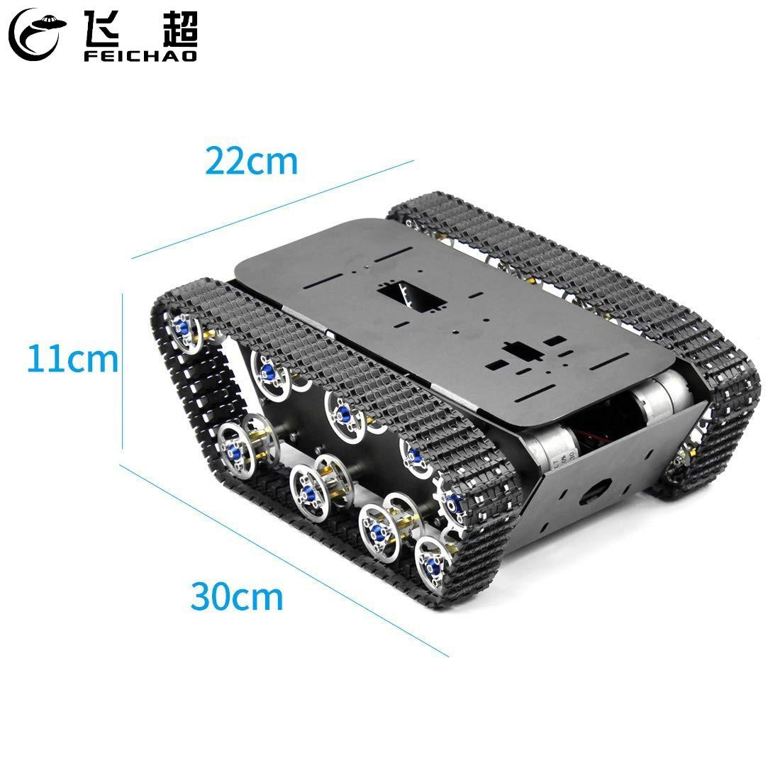Smart Robot Car Tank Chassis Kit Aluminum Alloy Big Platform with Motors for DIY Remote Control Robot Car Toys