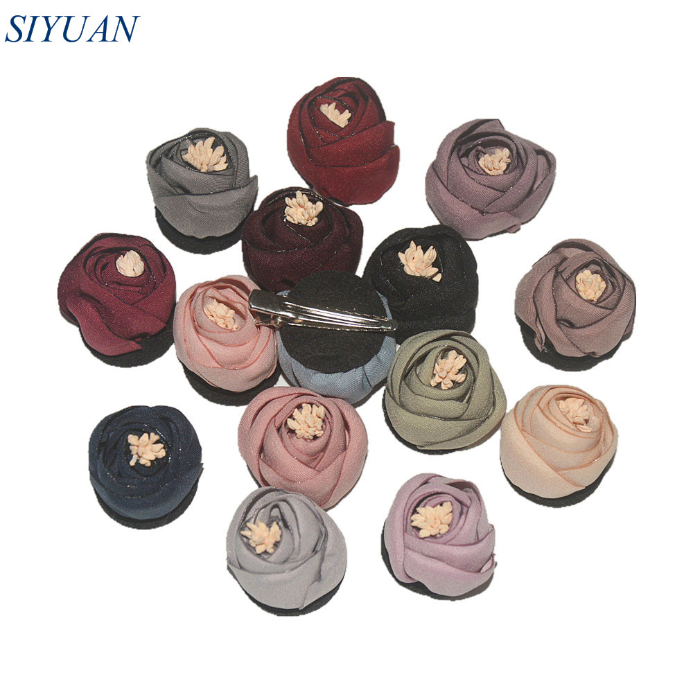 120pcs lot 3 0cm Vintage Fabric Flower Mini Satin Baked Rolled Rose With Hair Clip Headwear