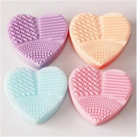 Colorful Heart Shape Clean Make Up Brushes Wash Brush Silica Glove Scrubber Board Cosmetic Cleaning Tools