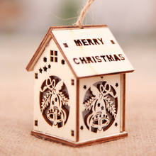 Led Wooden Santa Clause House Christmas Tree Ornaments Lamp Cabin Pendant Children's Xmas Gift Christmas Decoration for Home