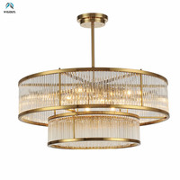 Plate Gold Metal E14 Led Pendant Lights 2 Layers Luxury Lamp Fixtures Led Pendant Lamp Indoor Lighting Lamparas Rod Hanging Lamp