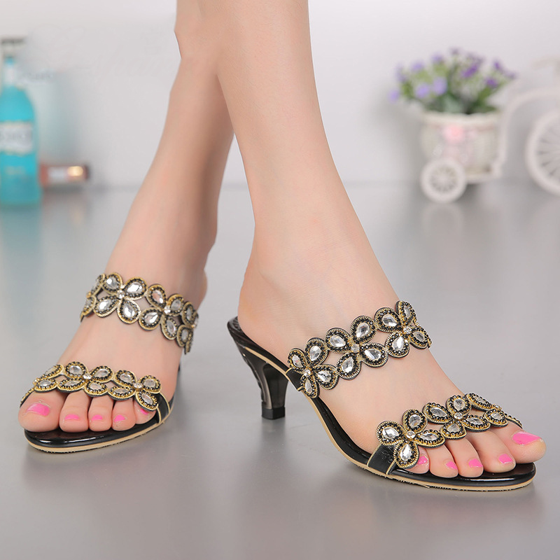 2017 New Diamond Sandals Luxury Shoes For Women Elegant High Heels 6cm Stiletto Slippers Gold Silver Black карабин black diamond black diamond rocklock twistlock