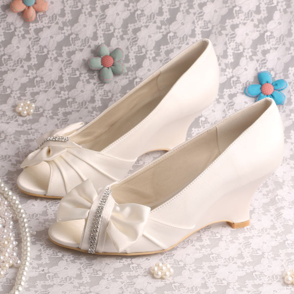 ФОТО (20 Colors)New Arrival Off-white Satin Wedge Heel Bridal Shoes Wedding Pumps Peep Toe Size 9