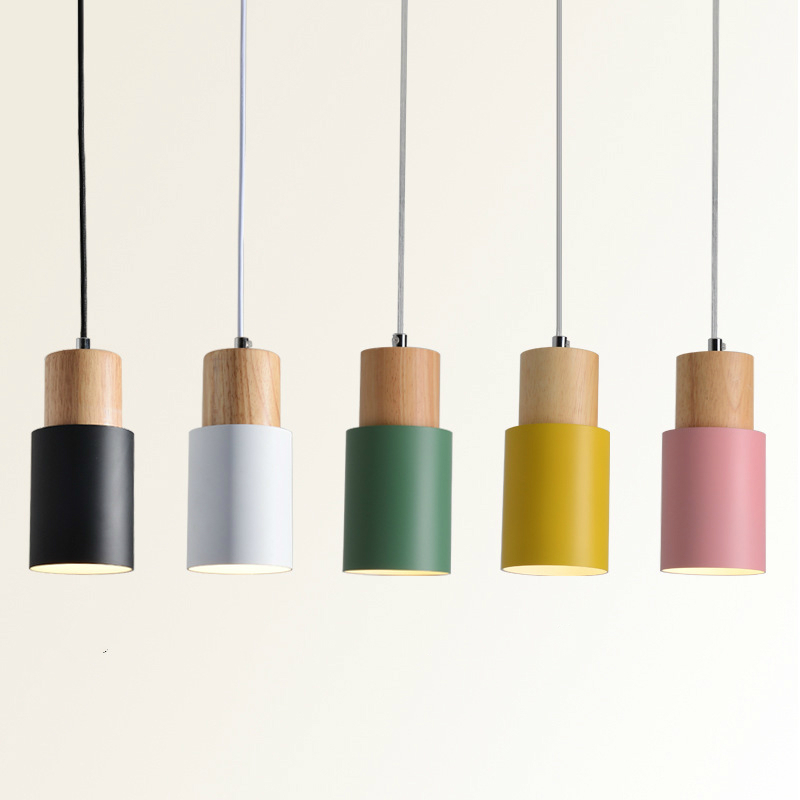 Nordic led wooden pendant lights modern wrought iron painted metal macaron hanging lamp pink white green dining room home deco|Pendant Lights|   -