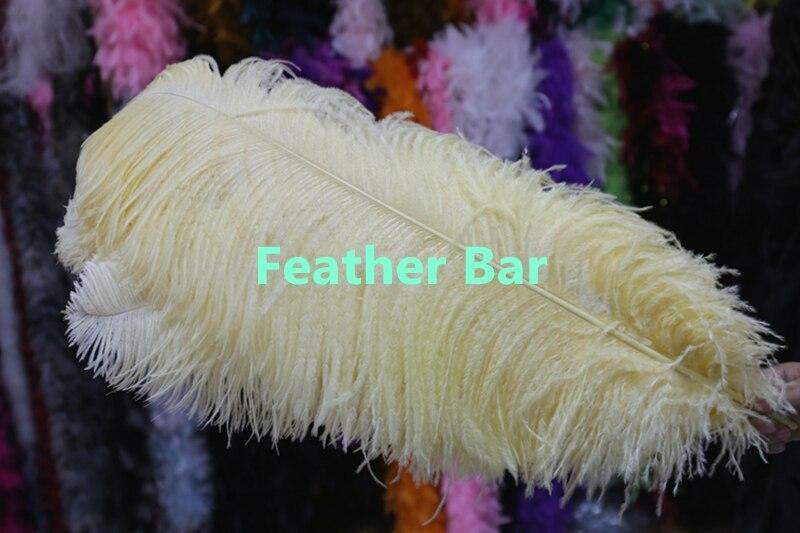 Livraison gratuite! en gros 50 pcs 20 22 pouces/50 à 55 cm Beige plume d'autruche, plume de mariage point focal central dans Plume de Maison & Jardin