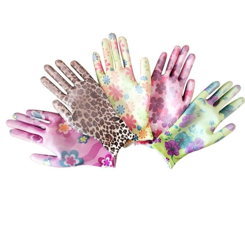 New Household Gloves Ladies Gardening Gloves Nylon Suit Color Work Gloves Tu Palm Dipped Gloves Non-slip