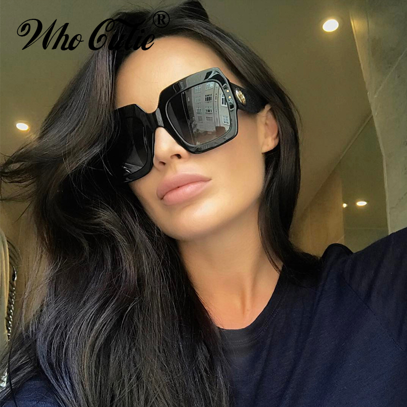 ee2f3d010f9 WHO CUTIE 2018 Oversized Square Sunglasses Red Black Green Three Colorblock  Glitter Gradient Lens RAY Sun Glasses Shades WG 006-in Sunglasses from  Apparel ...