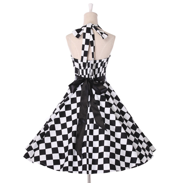 Summer style Womens Plaid Dresses Vintage 50s 60s Pin up Rockabilly clothing retro Audrey swing vestidos plus size Print Dress