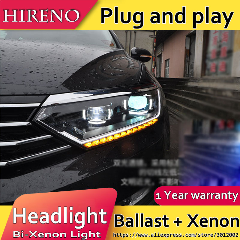 Headlamp for Volkswagen Passat B8 2017 Headlight Assembly LED DRL Angel Lens Double Beam HID Xenon 2pcs ...