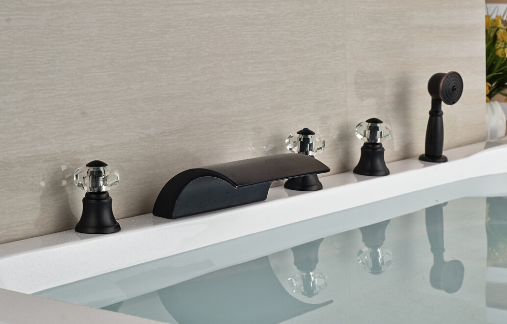 Crystal Oil Rubbed Bronze Deck Mounted Mixer Tap Bathroom Tub Faucet With Hand Sprayer