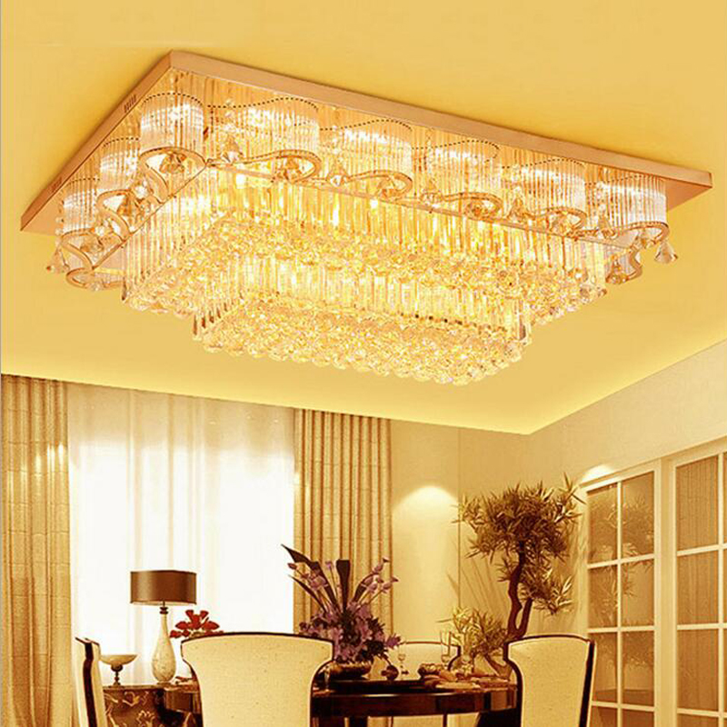 все цены на led crystal ceiling lamp living room lights modern simple warm bedroom lights atmospheric rectangular lighting fixture led lamp онлайн