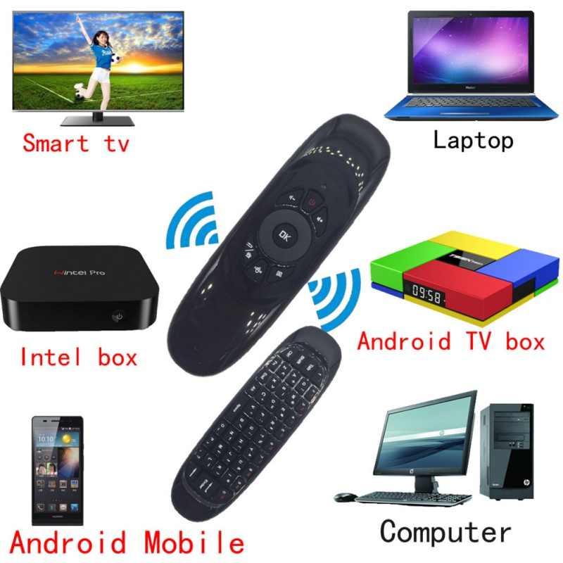 Gyroscope professionnel mouche Air souris sans fil TV boîte clavier 2.4G télécommande Rechargeable pour Android Linux Windows Mac