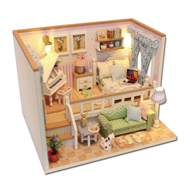 Dollhouse Doll House Miniature Furniture Accessories Mini Wooden House  Handmade Model Toys Gift For Children M026