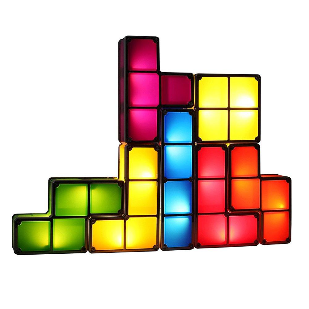 Drop Shipping DIY Tetris Puzzle Light Stackable LED Desk Lamp Constructible Block Night Light Romantic Novelty Lamp For Baby